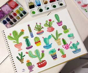 art, cactus, and colorful image