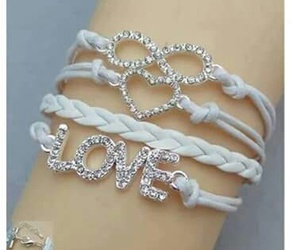 bracelet, heart, and white image