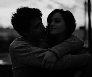 black and white, couple, and hug image