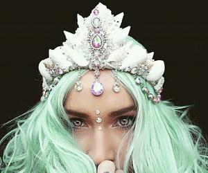 crown, girl, and mermaid image