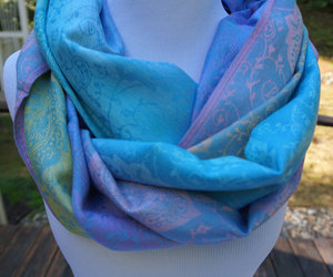 etsy, pink scarf, and blue scarf image