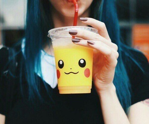 pikachu, juice, and drink image