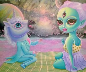 alien, unicorn, and pastel image