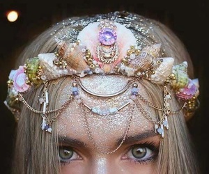 mermaid, crown, and glitter image