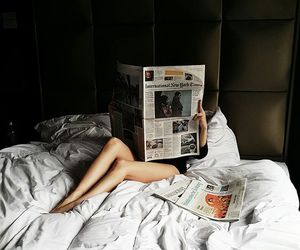 newspaper, morning, and bed image