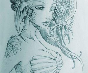 art, drawing, and mermaid image