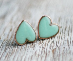 earrings, heart, and blue image