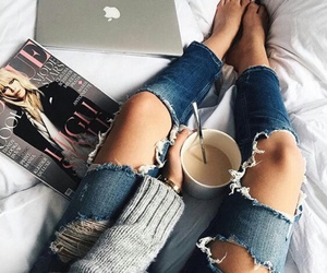coffee, blue ripped jeans, and fashion magazine image