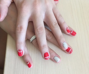 nails, rednails, and gelish image