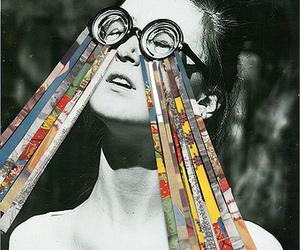 art, black and white, and glasses image