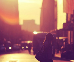 city, sunset, and girl image