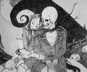 jack, sally, and black and white image