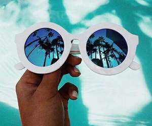beautiful, sunglasses, and blue image