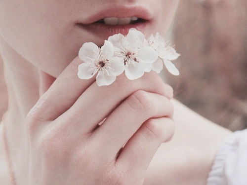 flowers, lips, and white image