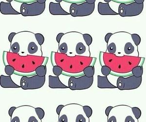 panda, wallpaper, and watermelon image