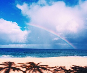 beach, rainbow, and summer image