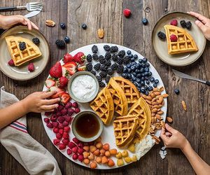 breakfast, waffles, and berries image