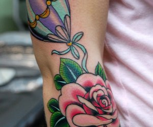tattoo, rose, and traditional image
