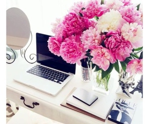 flowers, laptop, and magazines image