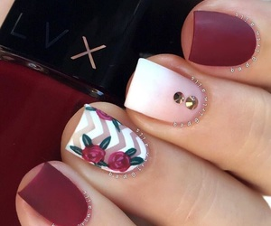 nails, nail art, and red image
