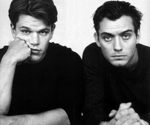 jude law, matt damon, and black and white image