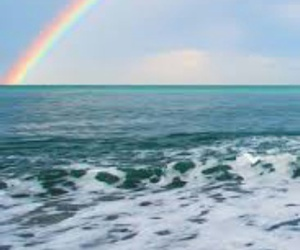 rainbow, sea, and ocean image