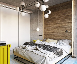 bed, interior design, and modern house image