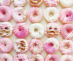 pink, cream, and donuts image