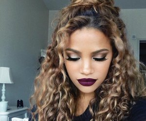 hair, makeup, and curly image