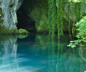 water, nature, and cave image