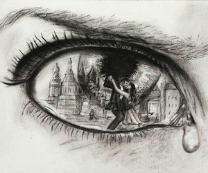 eye, sad, and drawing image