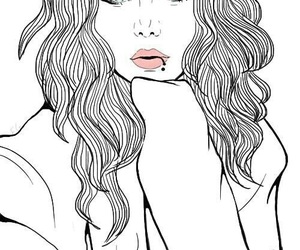 outline, girl, and draw image