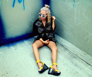 blonde, heels, and jacket image