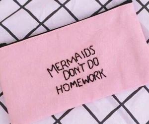 mermaid, pink, and homework image