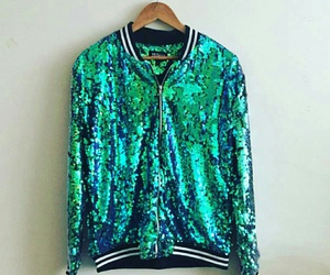 blue, bomber, and green image