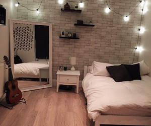 bed, guitar, and home image