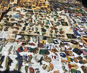 flea market, pins, and shopping image