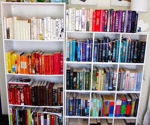 books, bookshelf, and white image