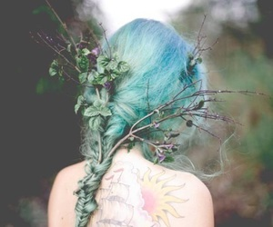 hair, blue, and tattoo image