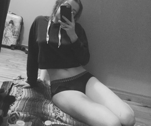 bedroom, black and white, and sweater image