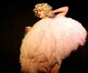 blonde, burlesque, and feathers image