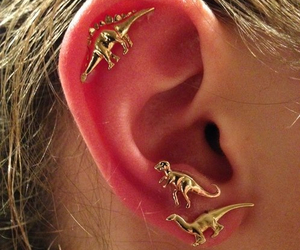 dinosaur, ear, and piercing image
