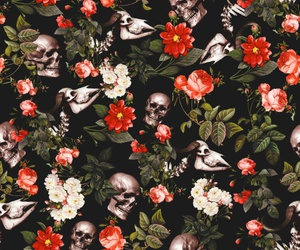 background, floral, and skull image