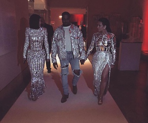kylie jenner, kim kardashian, and kanye west image