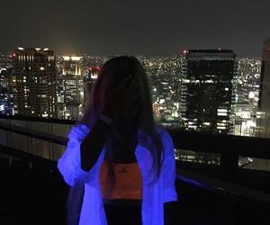 girl, city, and neon image