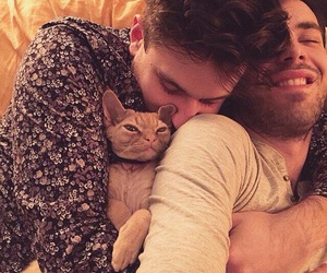 boys, cat, and couple image