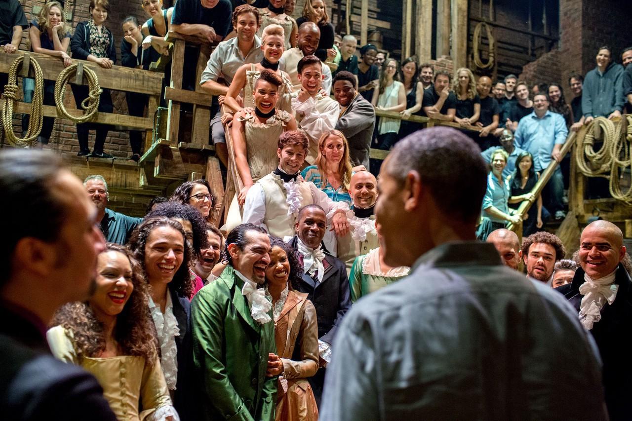 hamilton, musical, and president obama image