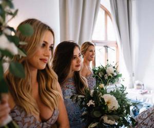 bridesmaids, flowers, and wedding image