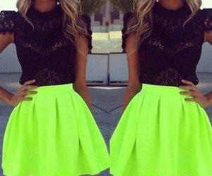 skirt, neon, and black image
