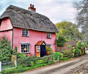 pink, cottage, and house image